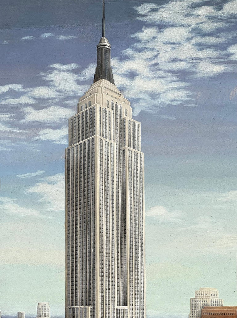 Empire State Building Mid-Century Artist Paints all 102 stories of Empire State  - Painting by Alice Smith