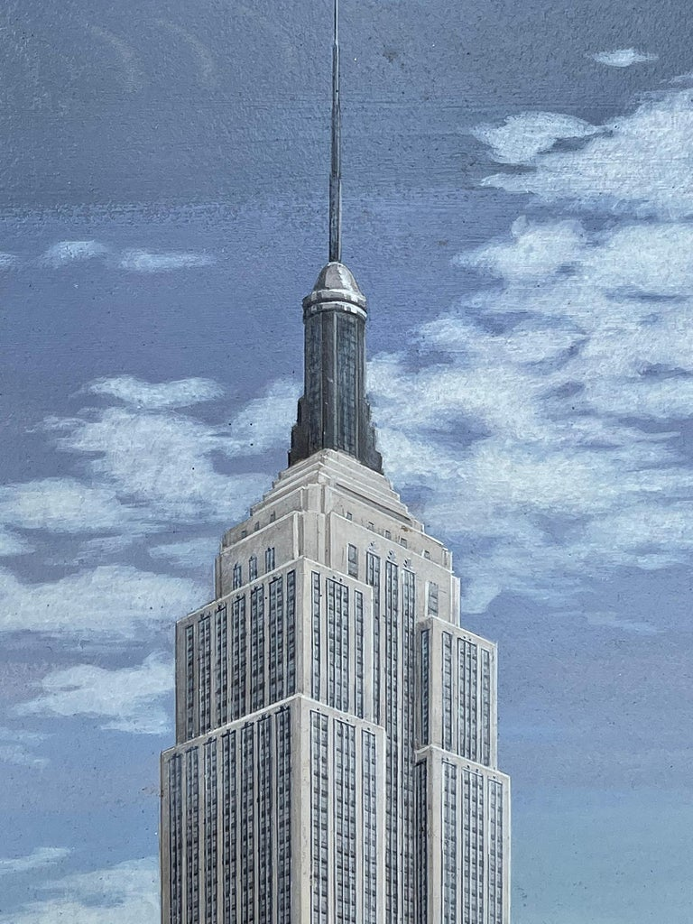 Empire State Building Mid-Century Artist Paints all 102 stories of Empire State  - Photorealist Painting by Alice Smith