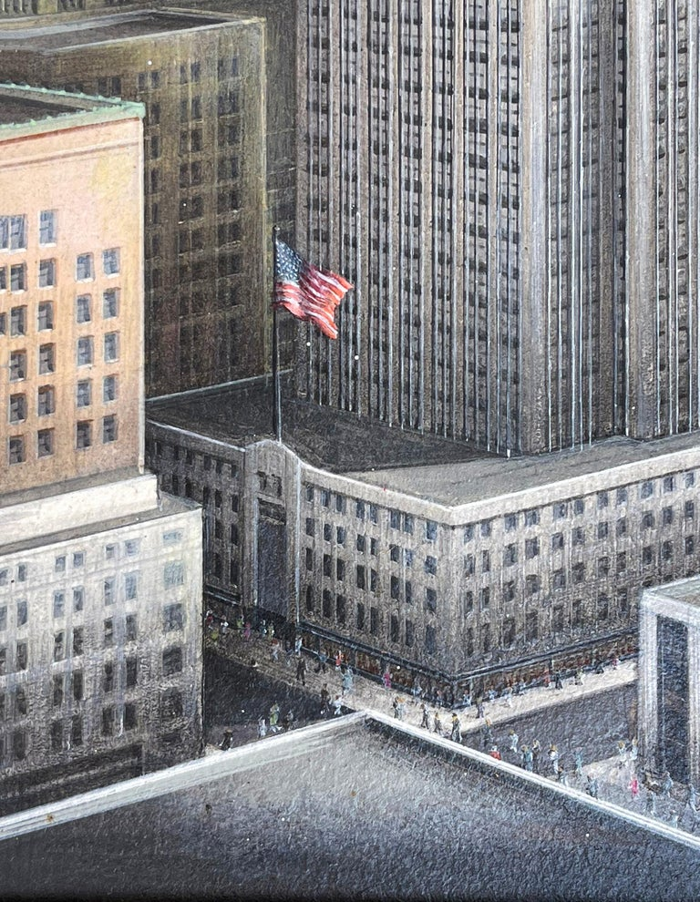 Empire State Building Mid-Century Artist Paints all 102 stories of Empire State  For Sale 1