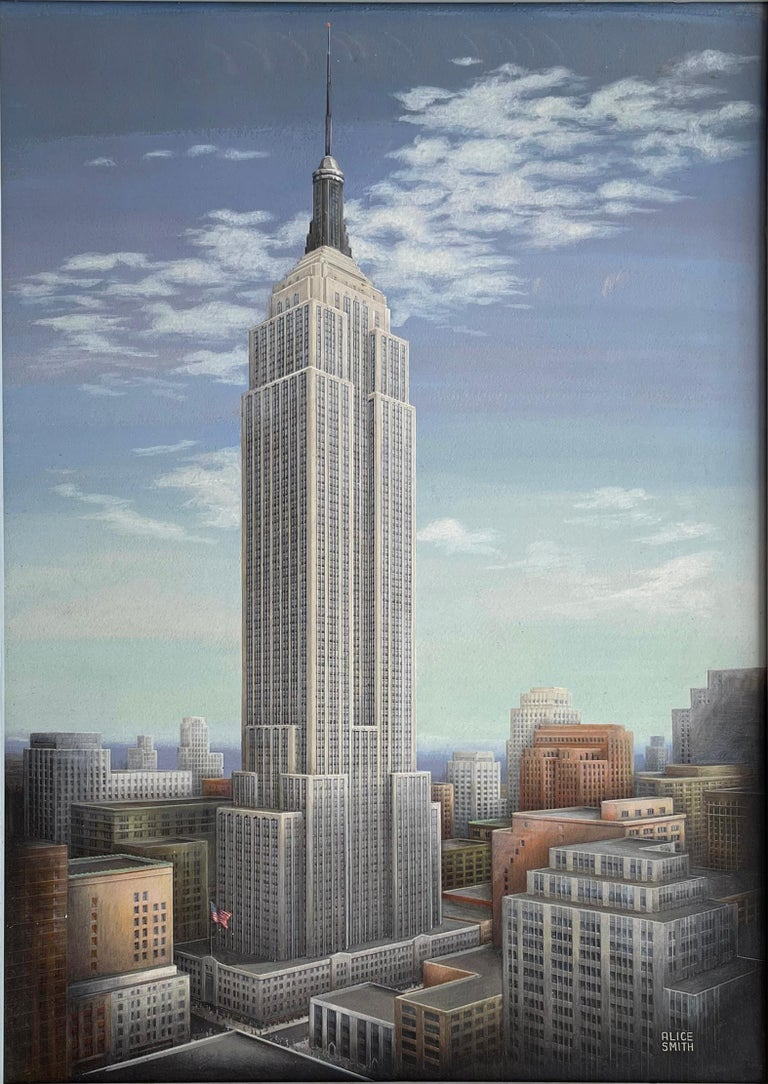 Alice Smith Landscape Painting - Empire State Building Mid-Century Artist Paints all 102 stories of Empire State