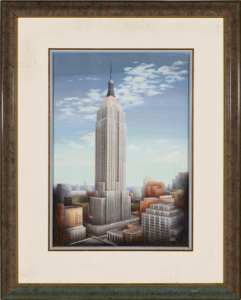 Empire State Building Mid-Century Artist Paints all 102 stories of Empire State  For Sale 4