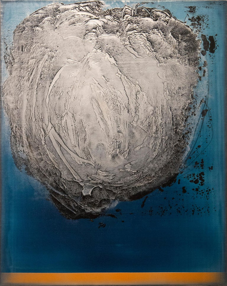 A vortex of steely grey spins on a ground of cerulean in this bold canvas by Paris-born artist Alice Teichert. The burnished layers of acrylic pigment in this work are underlined by a bright line of sunlit orange. The work is the second in a series