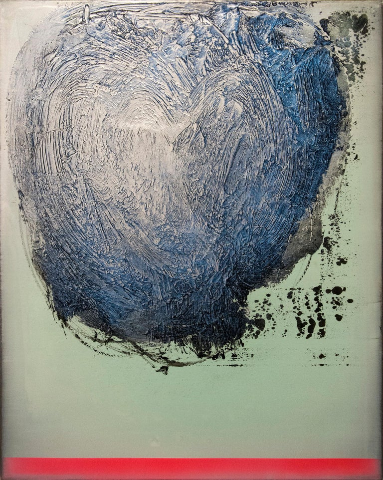 A spinning cloud of steely grey and octane blue moves across a ground of pale green in this bold canvas by Alice Teichert. The burnished layers of acrylic pigment in this work are underlined by a bright line of sunlit red. The work is the third in a