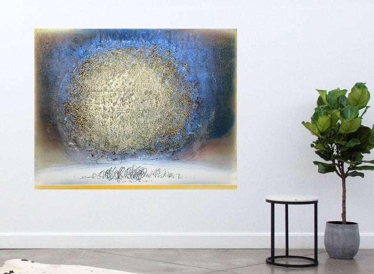 An orb of light gold calligraphic marks is framed by halo of octane blue in this luminous canvas by Alice Teichert. The burnished layers of translucent acrylic are underlined by a strip of canary yellow and a gestural glyphic. Teichert's elegant