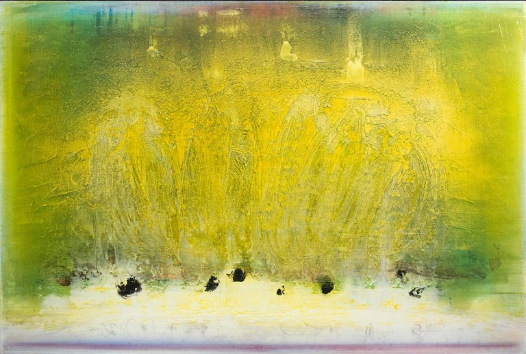 Swirling calligraphic passages of daffodil coalesce on a verdant green ground in this luminous canvas by Alice Teichert.  The artist works with thin layers of acrylic gel and pigment to produce a shimmering jewel-like surface interspersed with