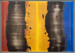 Metamorphosis -Diptych in luminous blue, red and yellow