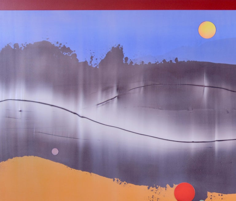 Omnipresent - Large format horizontal in blue and mango - Gray Abstract Painting by Alice Teichert