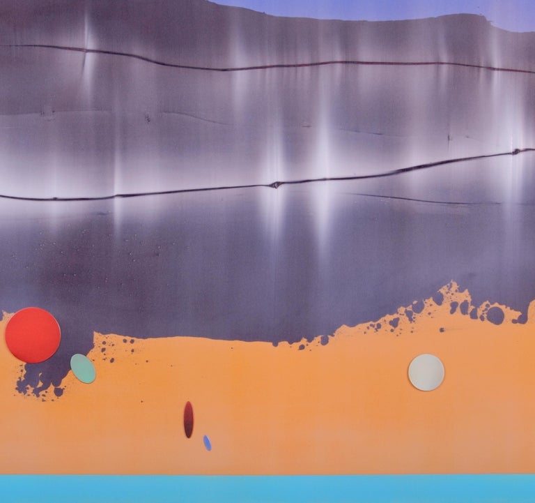 Omnipresent immerses the viewer in fields of soft blue and mango orange. These fields are divided and joined by a tonal grey undulating mass that takes one through the painting like sound through water. Working with a new medium and a new palette,