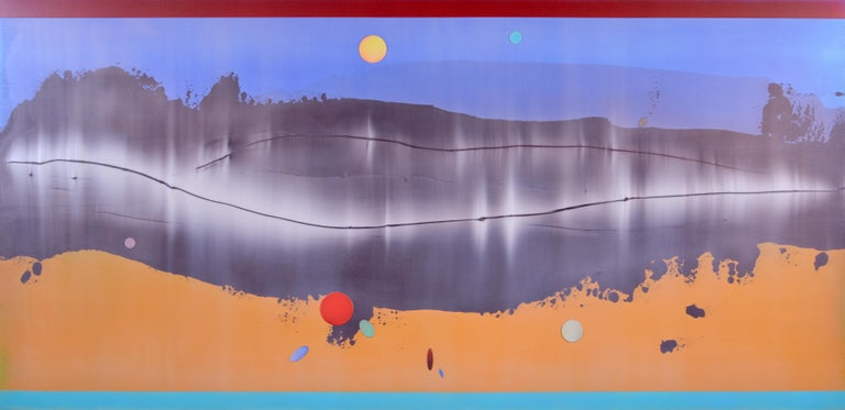 Omnipresent - Large format horizontal in blue and mango - Contemporary Painting by Alice Teichert