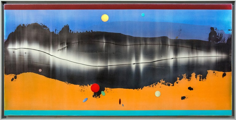 Alice Teichert Abstract Painting - Omnipresent - Large format horizontal in blue and mango