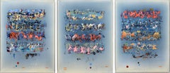 Tablet - vivid, colourful, blue, red, pink, orange, abstract triptych on panel
