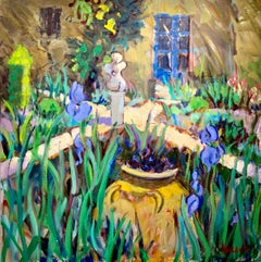Alice's Garden by Alice Williams, Square Post-Impressionist Garden Oil Painting