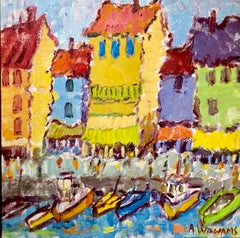 The Charm of Cassis by Alice Williams, Framed Oil on Canvas Harbor Painting