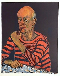 PORTRAIT OF JOHN ROTHSCHILD Signed Lithograph, Bald Man with Pipe, Striped Shirt