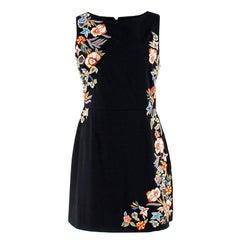 Alice+Olivia Black Embroidered Floral Dress 6 (UK)