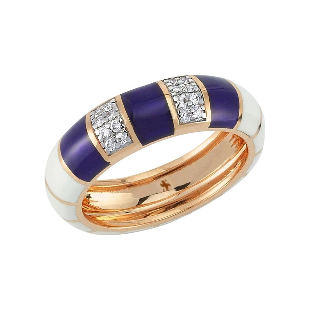 Alicha Ring in 14 Karat Rose Gold with Navy Blue & White Enamel