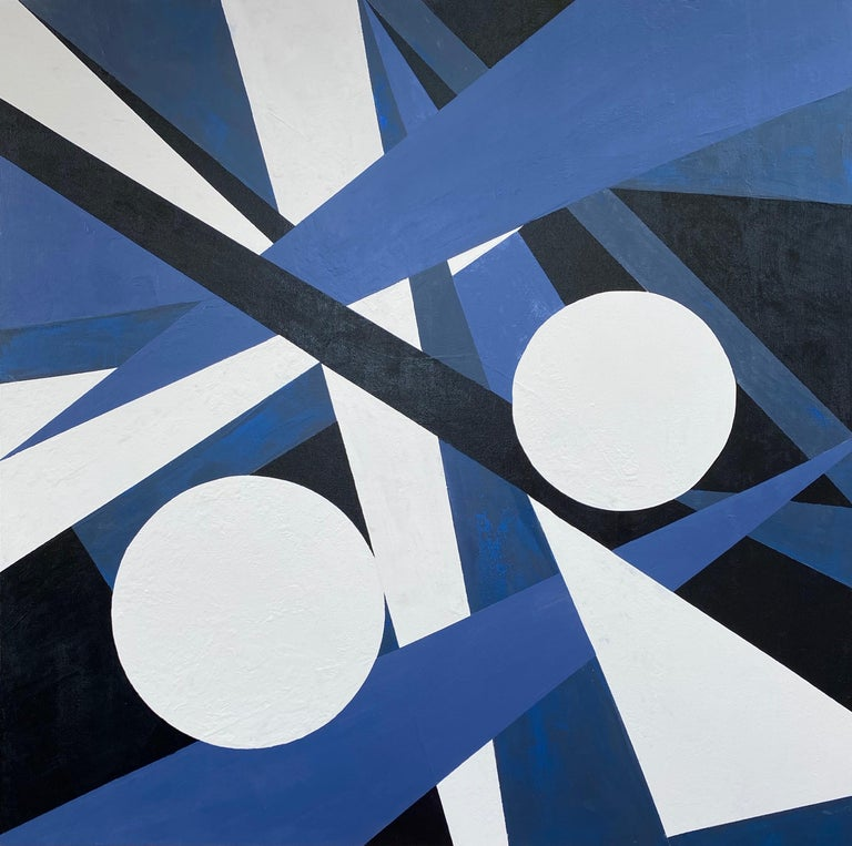 """<p>Artist Comments<br />'Bold and alive, this hard-edged geometric piece was a lot of fun to create,"""" says artist Alicia Dunn. """"My whole family agreed this was a favorite! I have turned it in different directions and each view reveals something"""