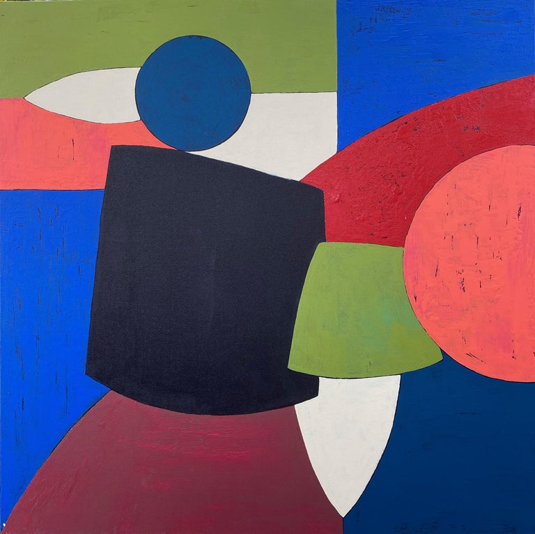 """<p>Artist Comments<br />A modernist composition effortlessly balancing forms in blues, reds, green and white. """"As a painter, I find great pleasure in creating geometric shapes and colors that work together harmoniously,"""" says artist Alicia Dunn."""