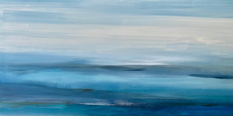 """<p>Artist Comments<br />Inspired by gradient cool hues, artist Alicia Dunn invokes a tranquil and dreamlike ocean view. Slow rolling waves gently lap at the shore. """"Myriad shades of blues, creams, and grays blend to form this moody and evocative"""