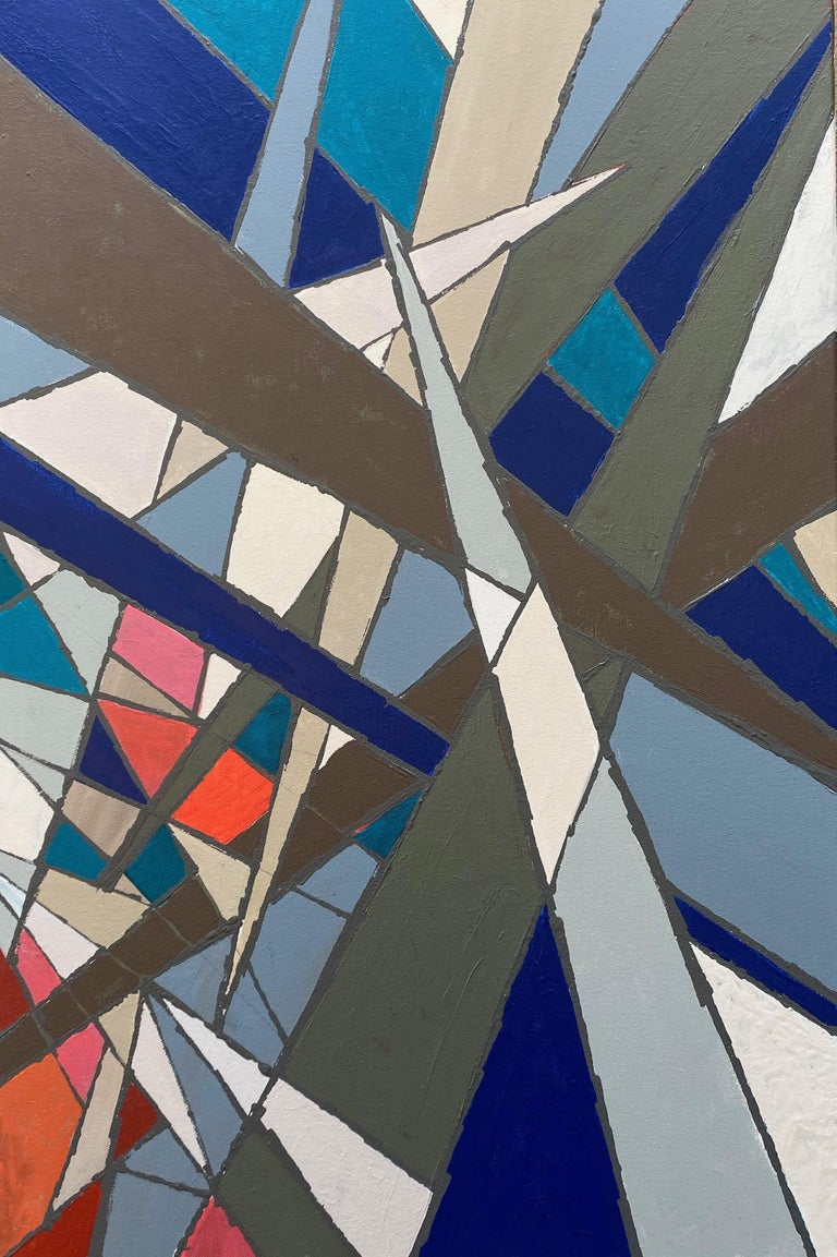 <p>Artist Comments<br />Bold arrows of blues, greys and pink-orange traverse in this modernist abstraction, evoking the refraction of stained glass. Artist Alicia Dunn says it's easy to get lost in the high energy collisions and rich, dense