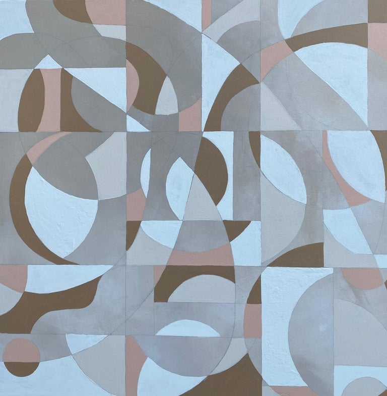 <p>Artist Comments<br />In this modern abstraction, artist Alicia Dunn interweaves subdued colors of white, beige, pink, and tan. By establishing interlacing blocks of neutral color, a grid-like pattern emerges among the flowing circles and curved