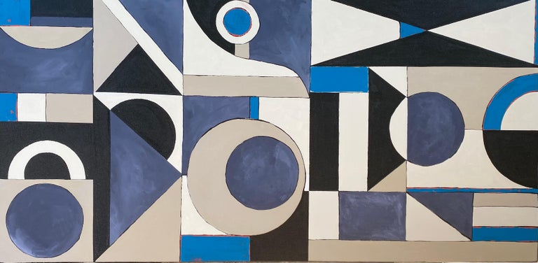 """<p>Artist Comments<br />Graphic and bold, this geometric painting maps artist Alicia Dunn's mind in a flow state. Different shapes in shades of blue, beige, black, and white result in a diverse but cohesive course. """"It's a reminder that habits can"""