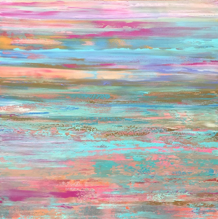 """<p>Artist Comments<br>Ethereal brushstrokes of pink, fuchsia, turquoise, olive and aqua meet in an energized space. """"Alive with color, this painting reflects intensity and positivity,"""" says Alicia. She draws from her local northern California"""