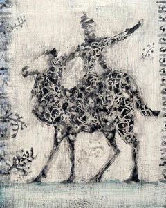 August Rider, abstracted oil painting of man riding camel, black and white