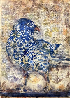 Bluebird, abstracted oil painting of bird, neutral earth tones
