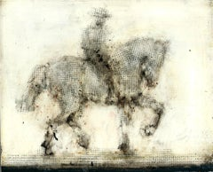 Horse and Rider, mixed media, oil on panel, 10 x 8 inches. Dotted display