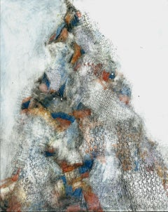 Monteluco, blue and orange abstracted oil painting on panel, mountain