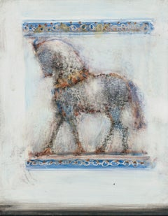 Nino, mixed media, oil on panel, blurred and abstract horse