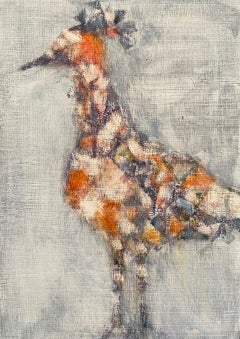 Red Blue Bird, abstracted oil painting of bird, neutral earth tones