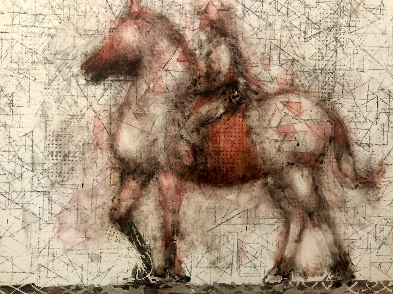 Ruby Rider,  red horse and rider, oil painting on panel