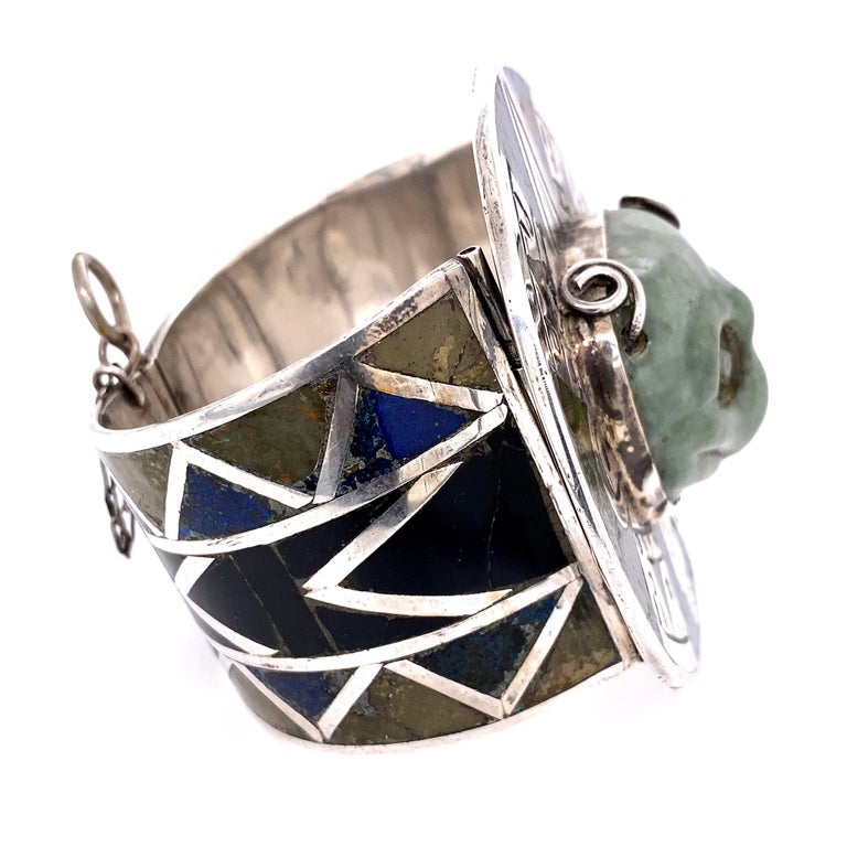 Mixed Cut Alien Nations Nephrite Jade and Inlay Sterling Silver 925 Cuff Bracelet For Sale