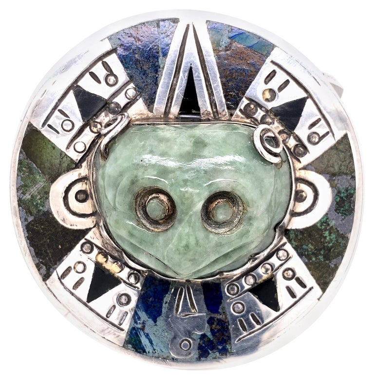 Alien Nations Nephrite Jade and Inlay Sterling Silver 925 Cuff Bracelet For Sale