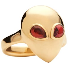Alien Pinky, 14 Karat Yellow Gold Pink Tourmaline Ring