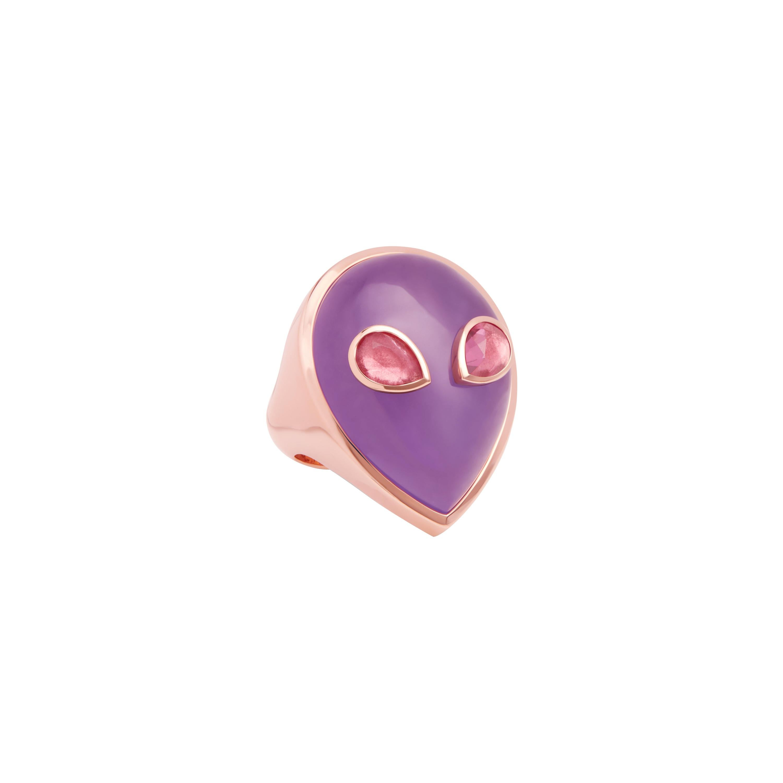 Alien Ring, 18 Karat Rose Gold Lavender Jade and Pink Tourmalines, One of a Kind
