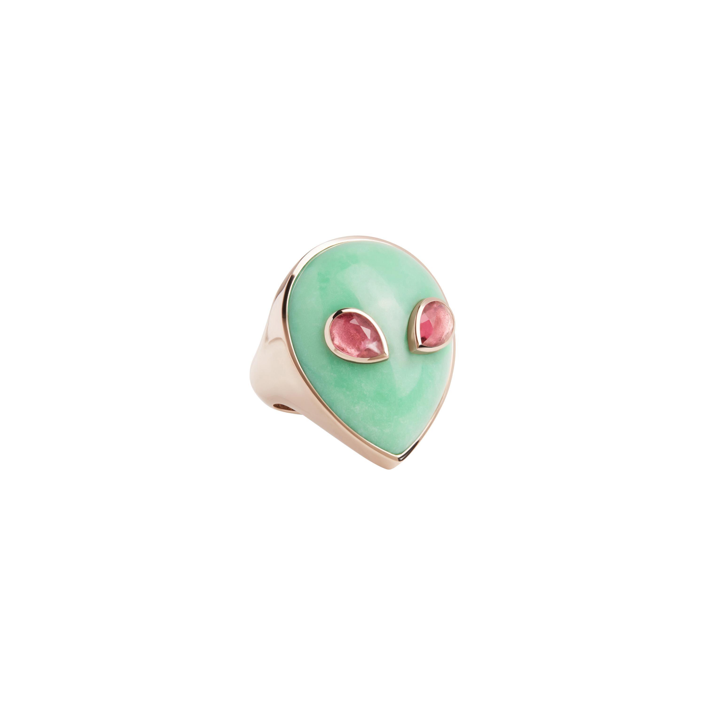 Alien Ring, 18 Karat White Gold Chrysoprase and Pink Tourmaline, Limited Edition