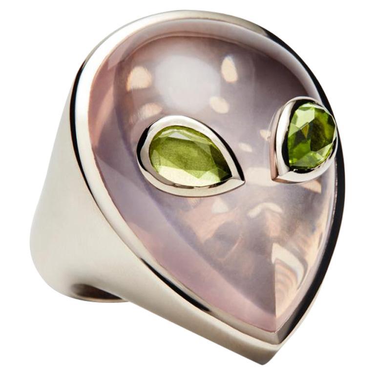 Alien Ring, 18 Karat White Gold Rose Quartz and Peridot, Limited Edition