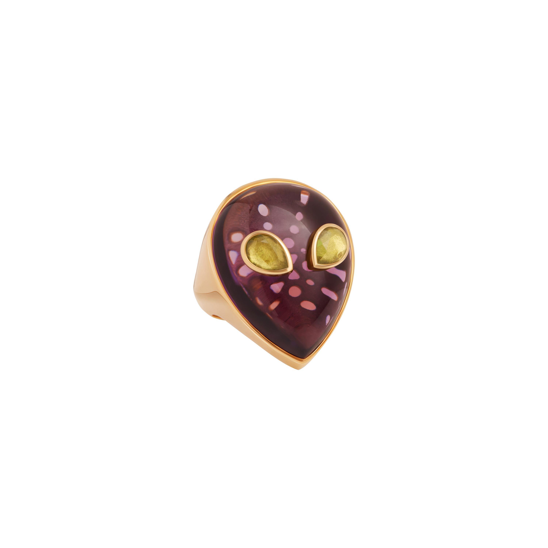 Alien Ring, 18 Karat Yellow Gold Amethyst and Peridot, Limited Edition