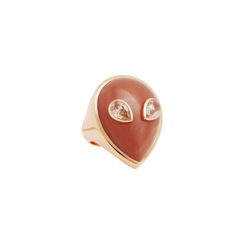 Alien Ring, 18 Karat Yellow Gold Orange Moonstone and Diamonds Limited Edition