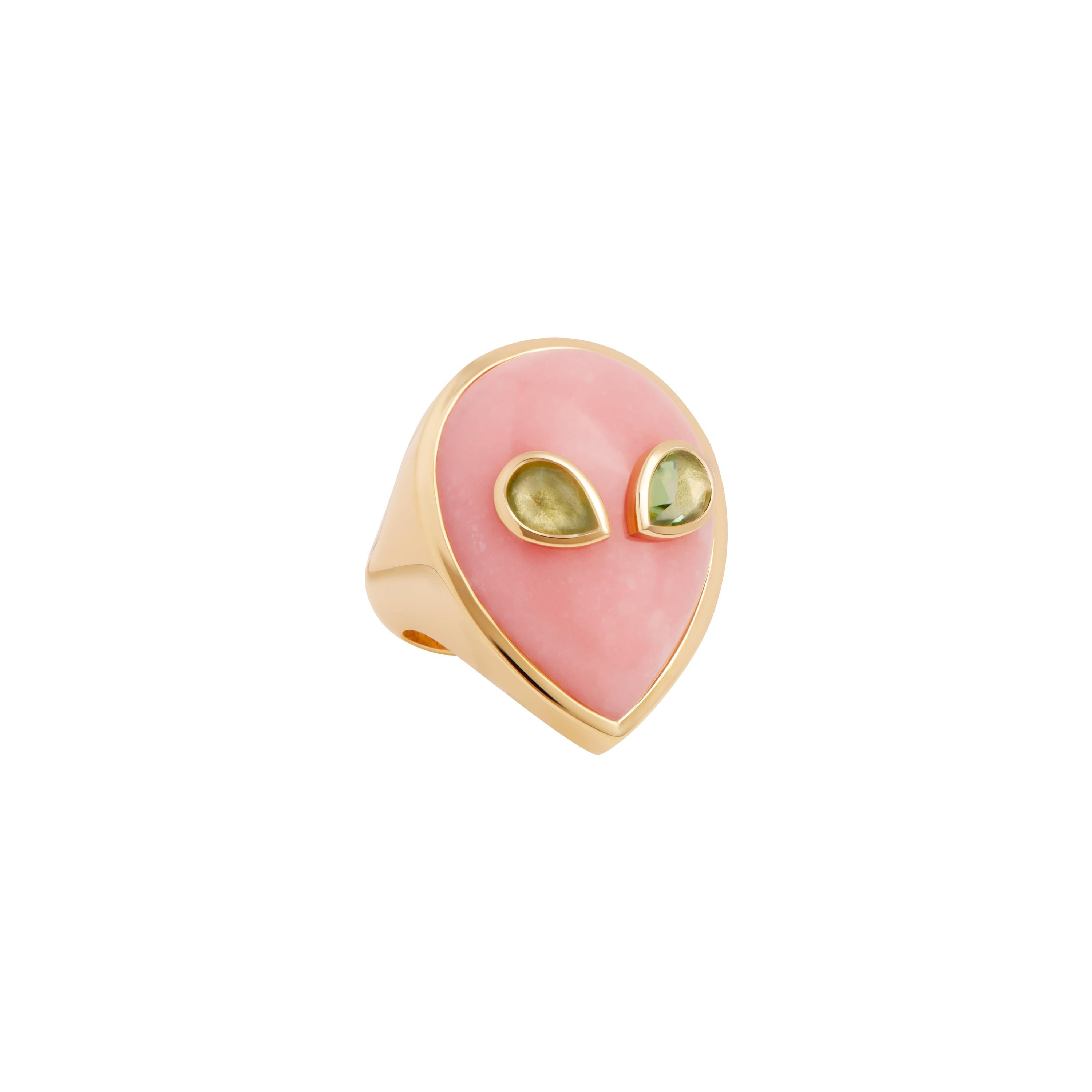 Alien Ring, 18 Karat Yellow Gold Pink Opal and Peridot, One of a Kind
