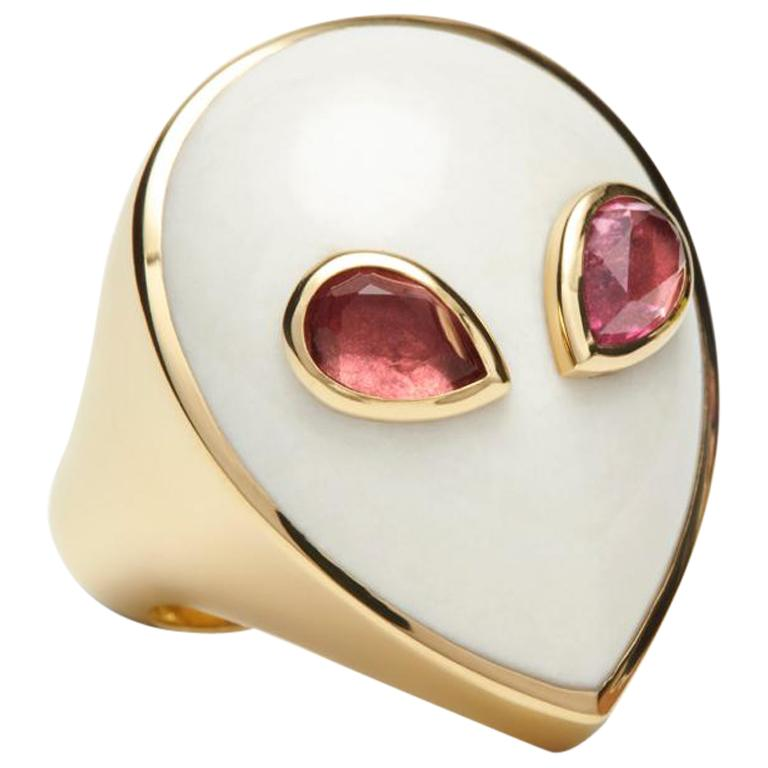 Alien Ring, 18 Karat Yellow Gold White Agate and Pink Tourmaline Limited Edition