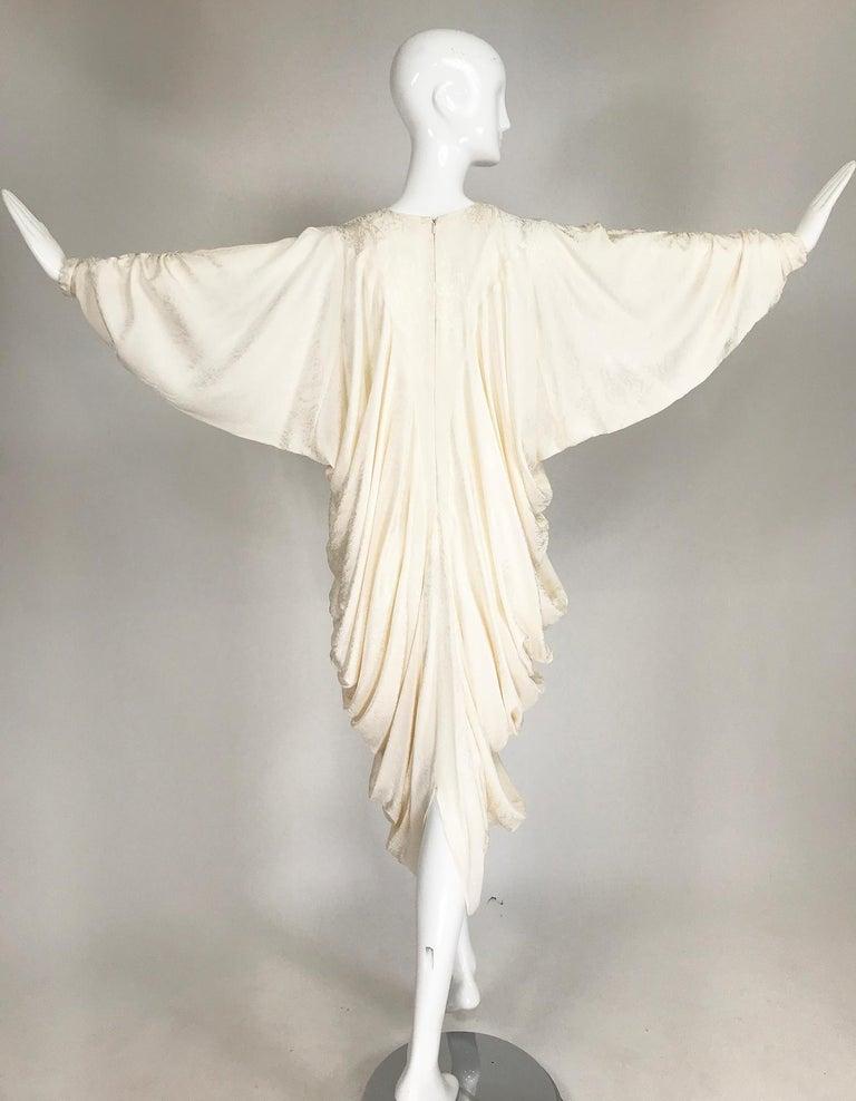 Alik Singer Cream Silk Jacquard Satin Bias Draped Bat Wing Dress 1980s For Sale 5