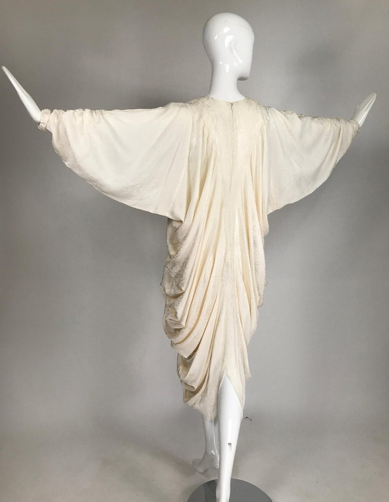 Alik Singer Cream Silk Jacquard Satin Bias Draped Bat Wing Dress 1980s For Sale 6
