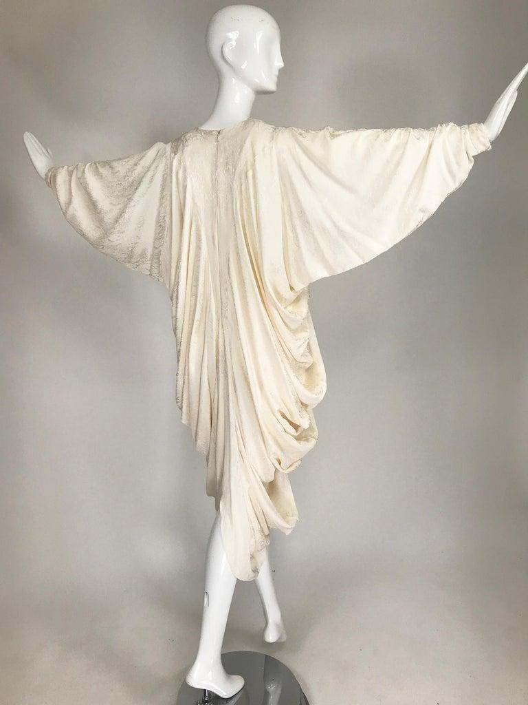 Alik Singer Cream Silk Jacquard Satin Bias Draped Bat Wing Dress 1980s For Sale 7