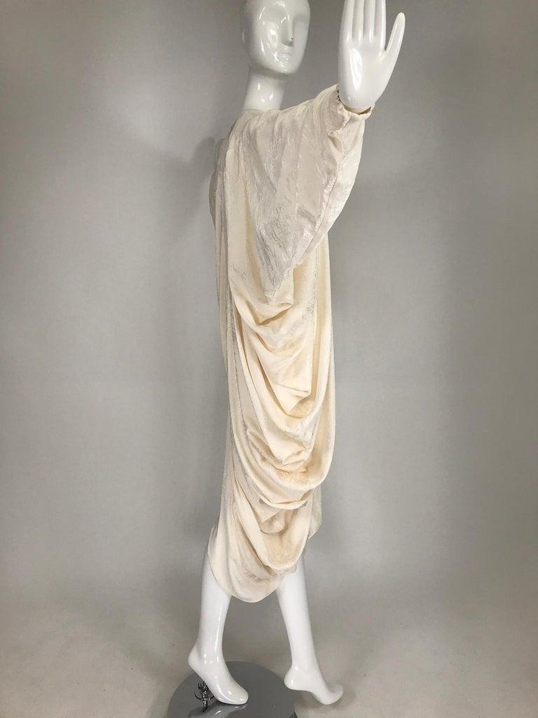 Alik Singer Cream Silk Jacquard Satin Bias Draped Bat Wing Dress 1980s For Sale 8
