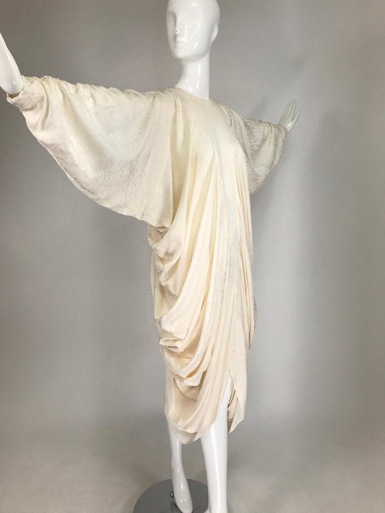 Alik Singer Cream Silk Jacquard Satin Bias Draped Bat Wing Dress 1980s For Sale 9
