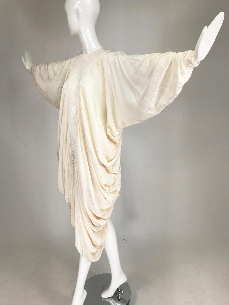 Alik Singer Cream Silk Jacquard Satin Bias Draped Bat Wing Dress 1980s For Sale 10